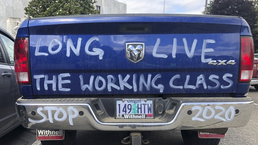 A diesel truck that belongs to a self-employed logger is parked in Salem, Ore., on Thursday, June 20