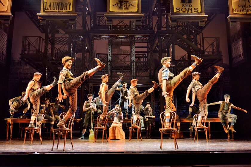 """The """"Newsies"""" dancers whirl through Christopher Gattell's breakneck, Tony-winning choreography as though their lives depended on it"""