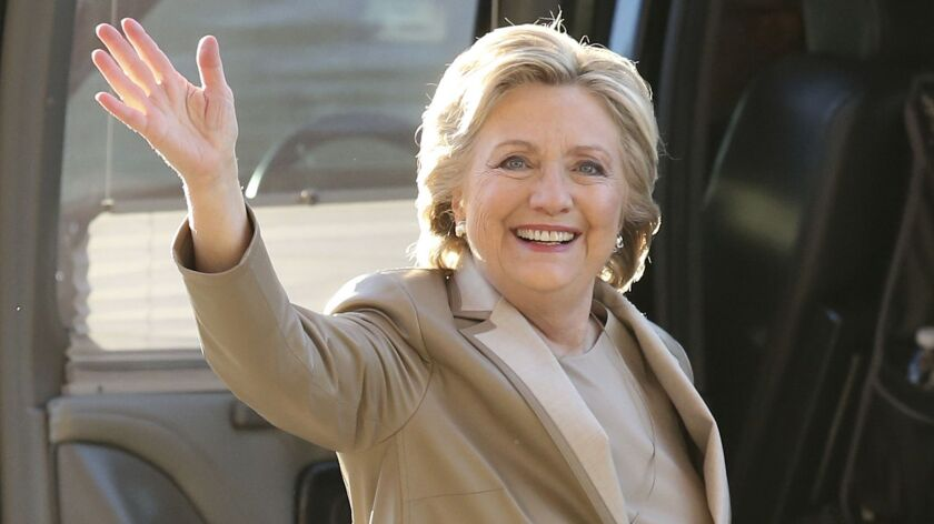 Democratic presidential nominee Hillary Clinton wears a Ralph Lauren pantsuit to vote Tuesday.