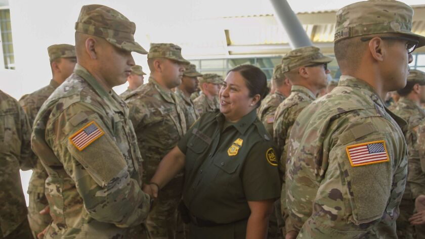 At a news conference on Monday, El Centro sector Border Patrol Chief Gloria Chavez welcomed 53 California National Guard members.