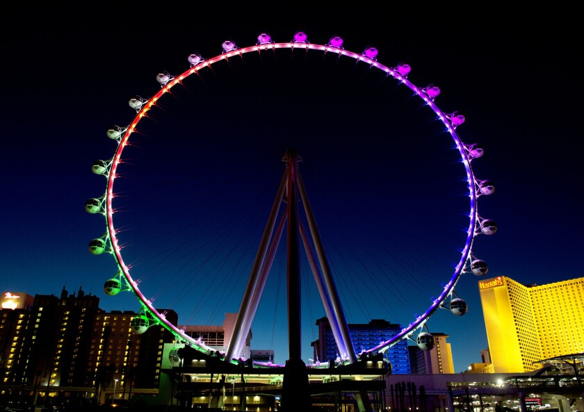 The High Roller, the world's tallest Ferris wheel, began welcoming guests on Monday in Las Vegas.