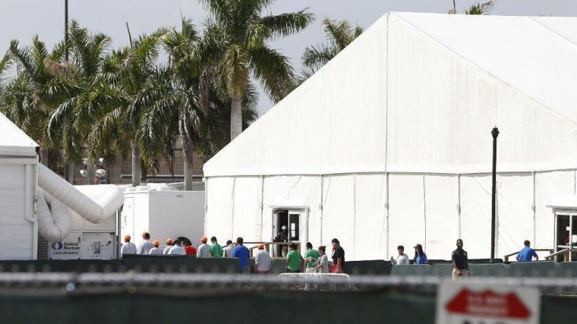 A detention center for migrants in Homestead, Fla. Public outcry over centers like this helped drive Bank of America to announce it will stop lending to the industry.