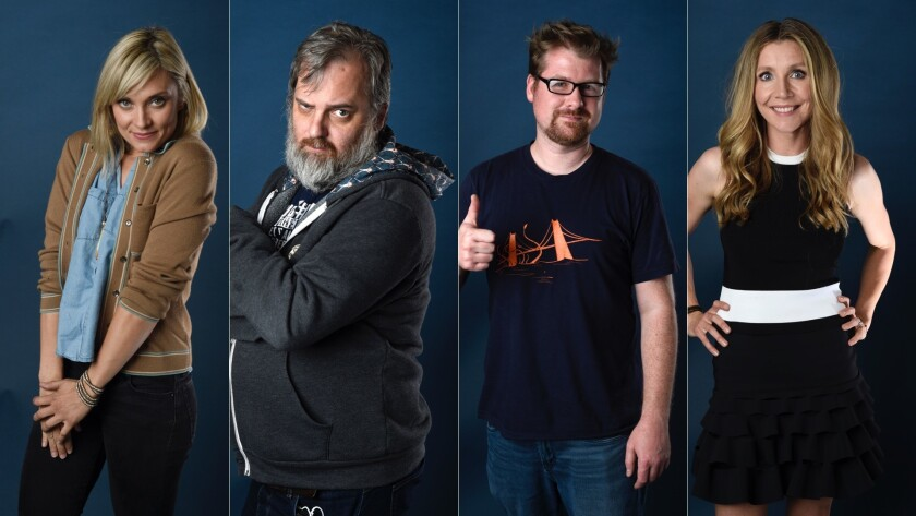 """Spencer Grammer, Dan Harmon, Justin Roiland and Sarah Chalke from """"Rick and Morty"""" at San Diego Comi"""
