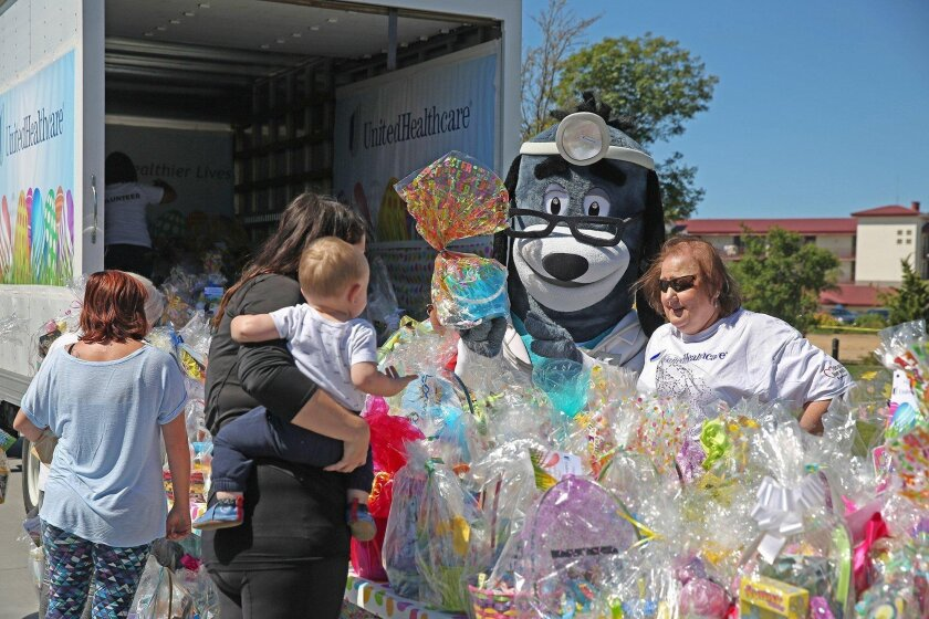 Jamie Rector Photography User Upload Caption: Marine families at Camp Pendleton received Easter baskets given out by UnitedHealthcare employees along with community volunteers.