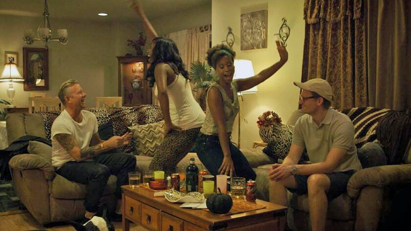 "Casper Christensen, from left, Amber Friendly, Shondrella Avery and Frank Hvam in the movie ""Klown Forever."""