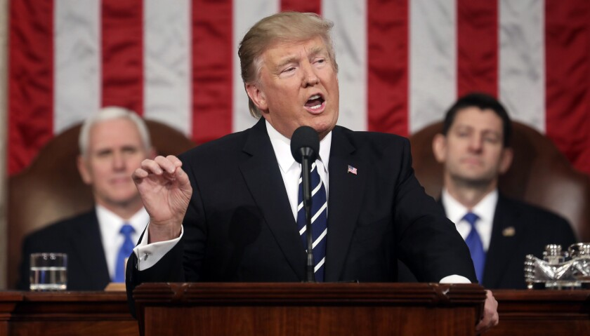President Donald Trump addresses a joint session of Congress on Capitol Hill in Washington, Tuesday,