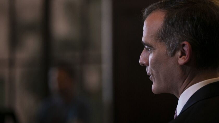 L.A. Mayor Eric Garcetti speaks during a news conference on Jan. 29 in Los Angeles.