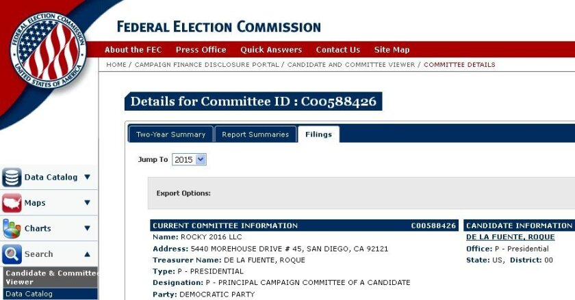 A copy of the Federal Election Commission filing Oct. 1 by Roque De La Fuente, who was born at Mercy Hospital in San Diego in 1954. He is running for U.S. president.