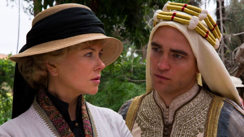 """Nicole Kidman as Gertrude Bell and Robert Pattinson as T.E. Lawrence in Werner Herzog's """"Queen of th"""