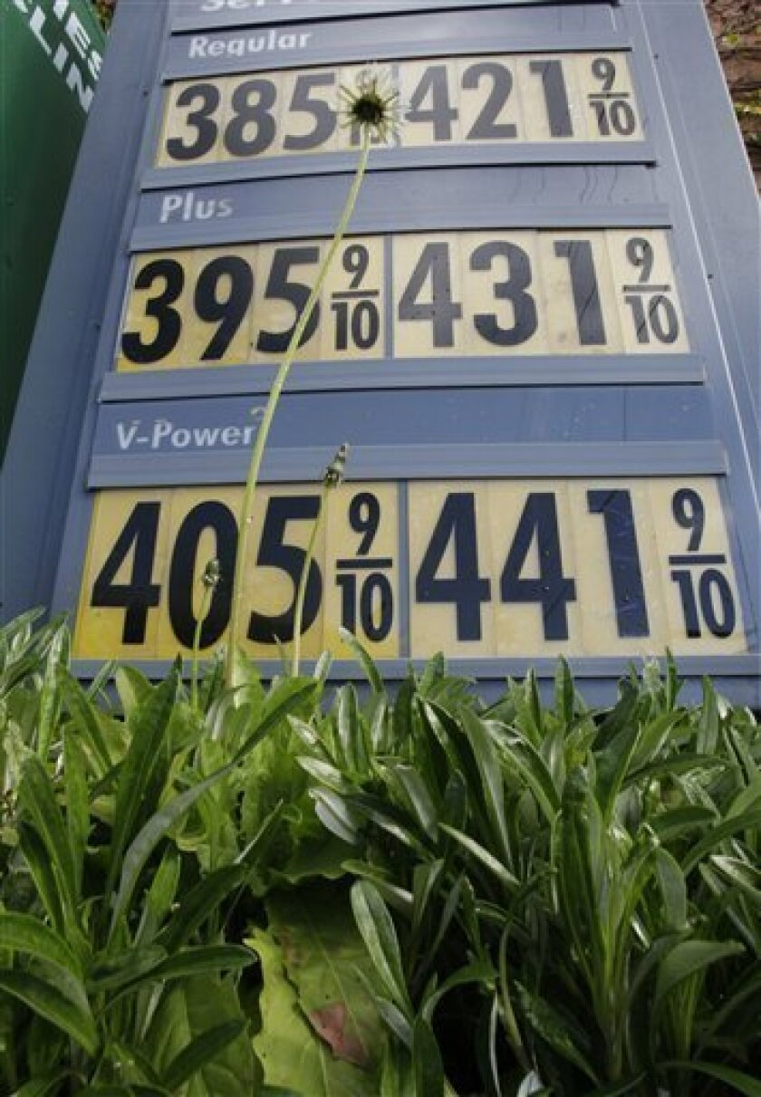 In this Feb. 25, 2011 photo, high gas prices are posted at a Shell gas station in Menlo Park, Calif. Oil and gasoline prices soared last week as the rebellion in Libya virtually halted oil shipments from the country.