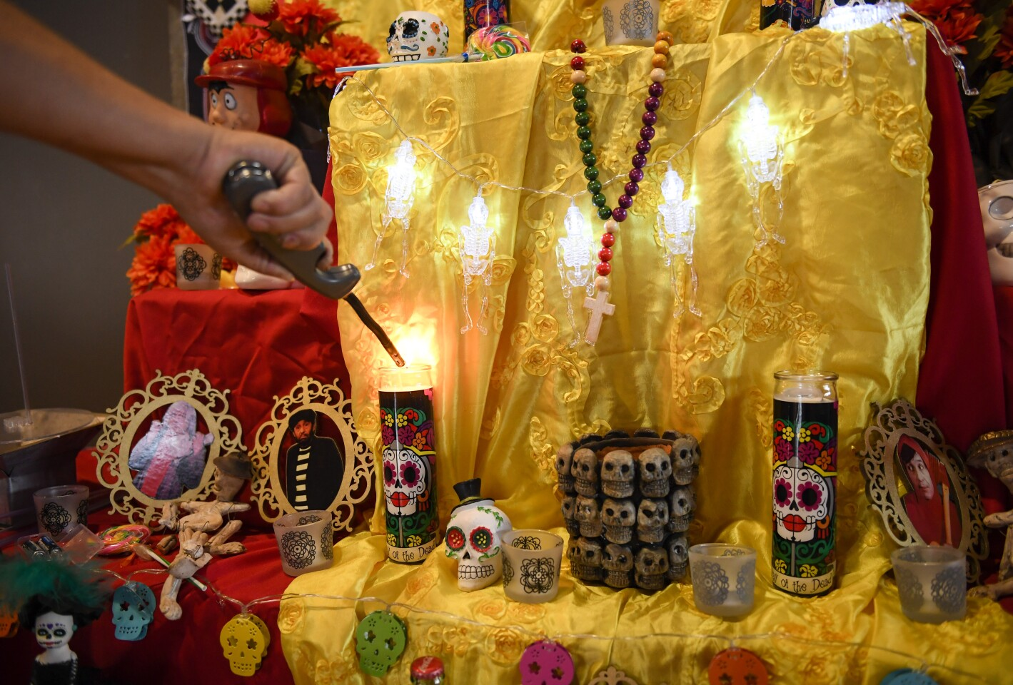 A completed Day of the Dead altar is displayed at the Sherman Heights Community Center Friday, Oct. 23, 2020 in San Diego. (Photo by Denis Poroy)
