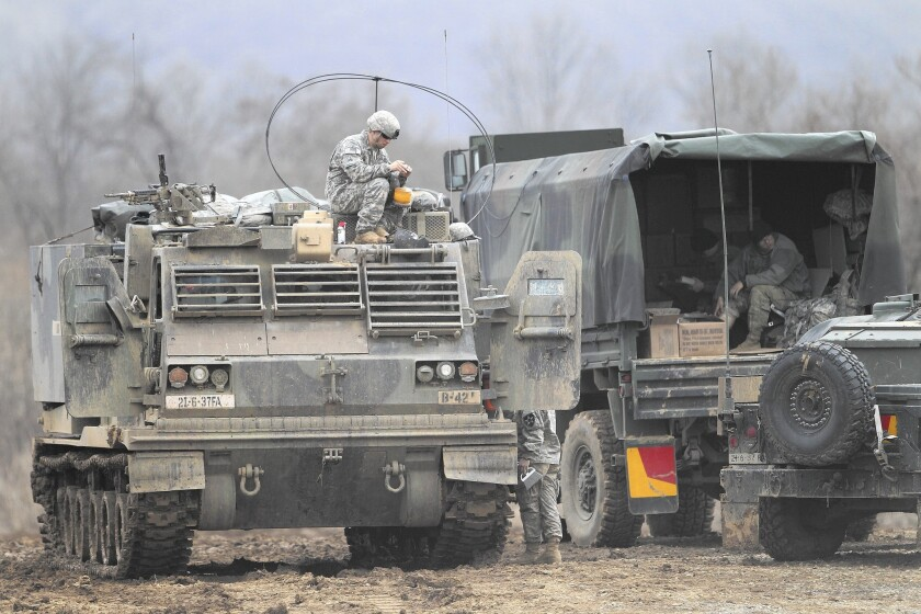A U.S. soldier in Yeoncheon is among the troops taking part in annual war games with South Korea.