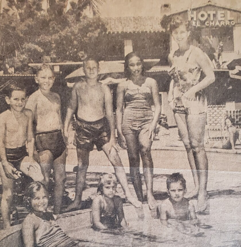 Harry Cummins, standing second from left, hangs out at the Hotel del Charro in La Jolla in his youth.