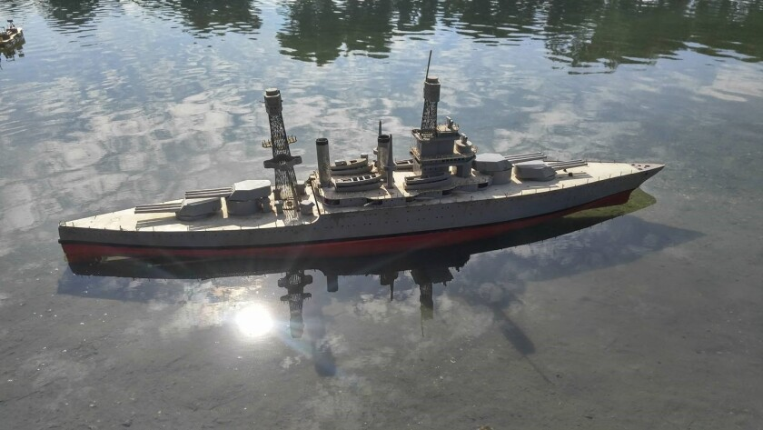 This remote-controlled USS California battleship replica in the Mission Bay model boat pond is being restored by San Diego Argonauts member Mark Shaw. It was originally built from scratch by a Southern California craftsman in the 1930s. Its guns even fire blanks.