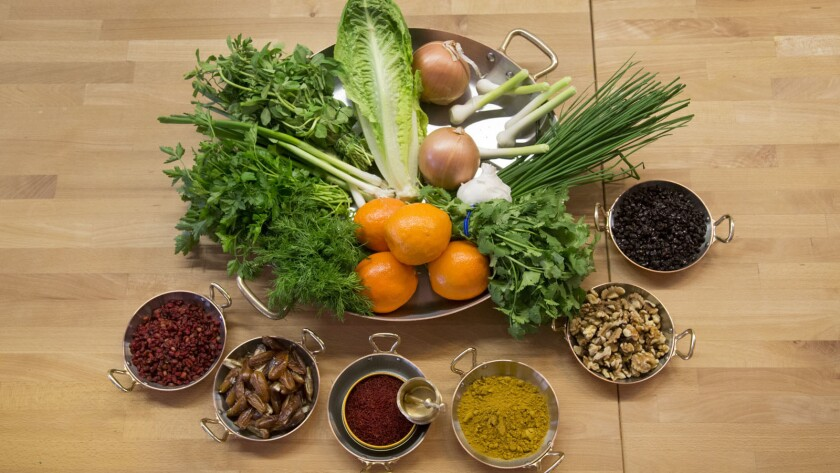 A selection of ingredients used to make traditional dishes that celebrate Nowruz, the Persian and Zoroastrian New Year celebration.