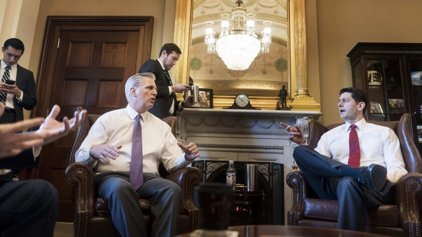 House Majority Leader Kevin McCarthy of Bakersfield, left, talks to House Speaker Paul Ryan in February.