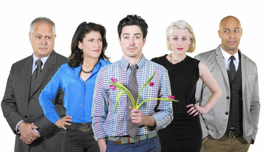 "Actors Matthew Arkin, Amy Aquino, Ben Feldman, Mamie Gummer and Dominique Worsley in South Coast Repertory's 2017 world premiere of ""The Siegel"" by Michael Mitnick."