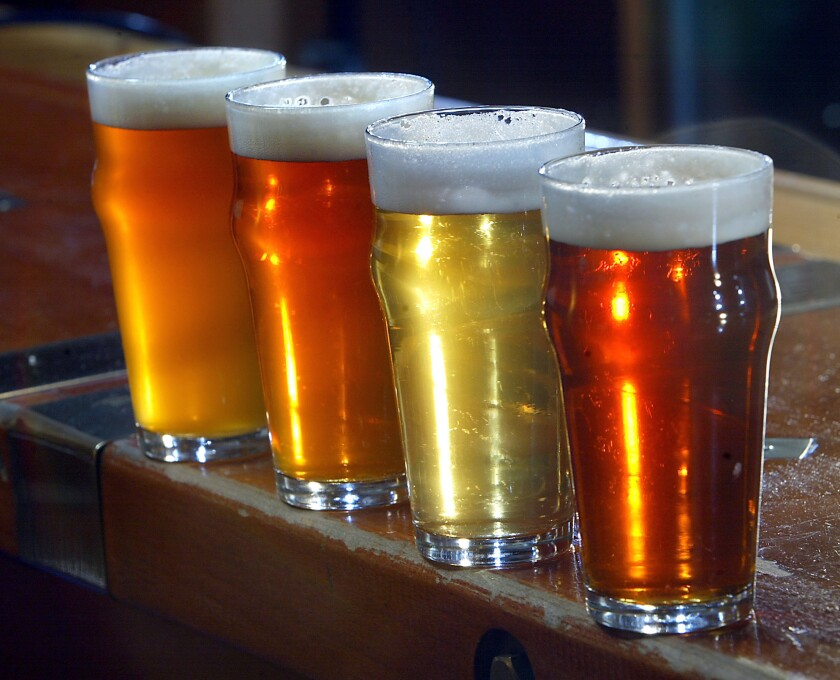Different styles of IPA lined up at the Father's Office bar.