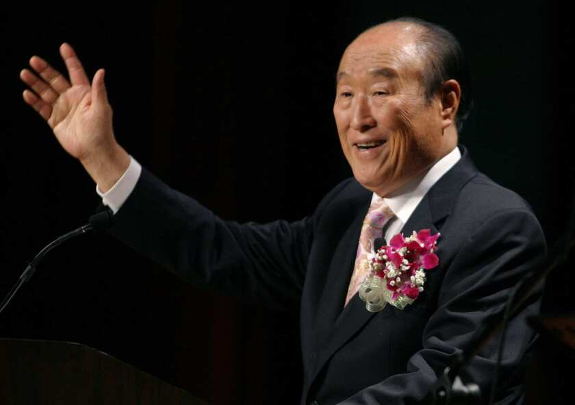 """The Rev. Sun Myung Moon speaks during his """"Now is God's Time"""" rally in New York."""