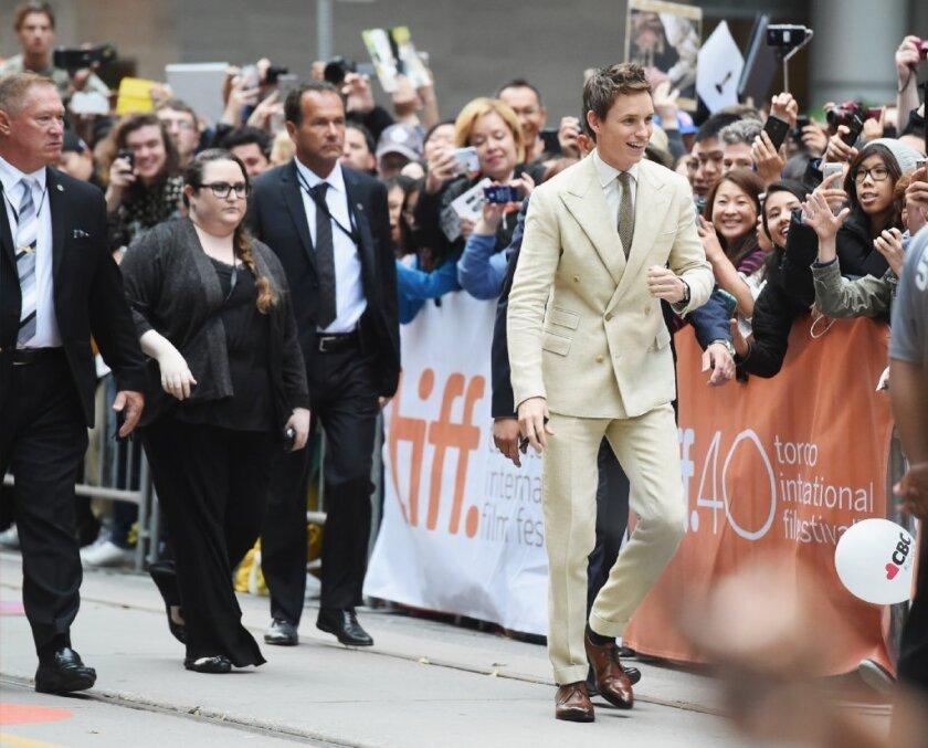 "Eddie Redmayne arrives for the Toronto International Film Festival premiere of his new movie, ""The Danish Girl."""