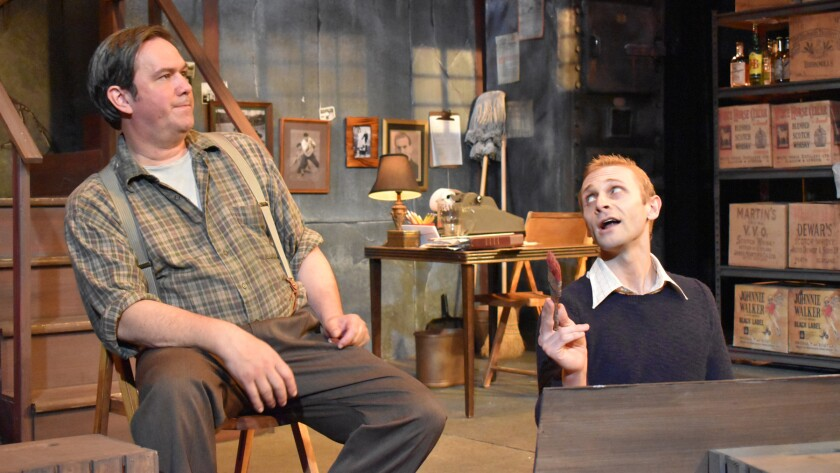 "A blue-collar bar owner (Keith Stevenson) has reservations about the unconventional signage proposed by a young Andy Warhol (Derek Chariton) in ""Andy Warhol's Tomato"" at Pacific Resident Theatre."