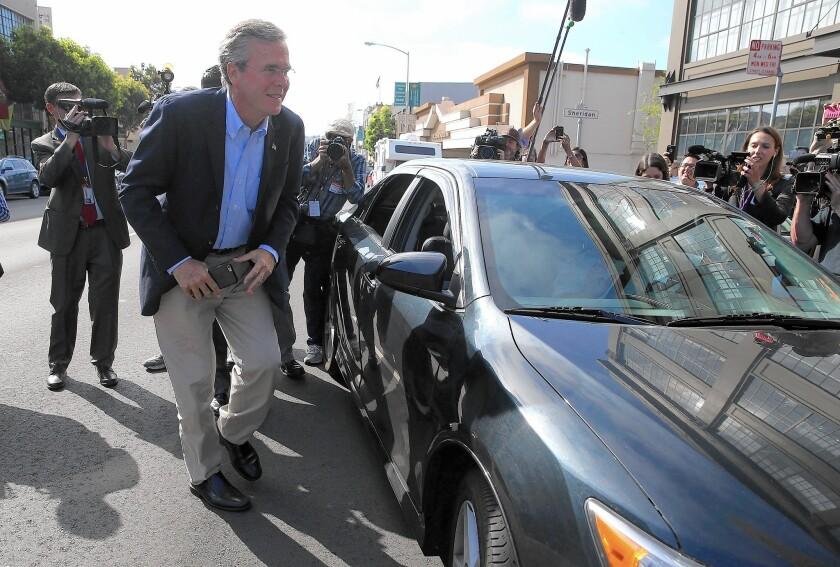 Jeb Bush arrives in Uber car in San Francisco