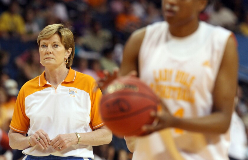 Tennessee Coach Pat Summitt, shown during the women's Final Four in Florida in 2008, won eight national titles with the Lady Vols. She died Tuesday at age 64 after suffering from early-onset Alzheimer's disease.