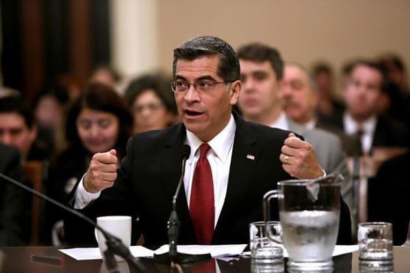 Rep. Xavier Becerra (D-Los Angeles) testifies Tuesday at a confirmation hearing for state attorney general. (Gary Coronado / Los Angeles Times)