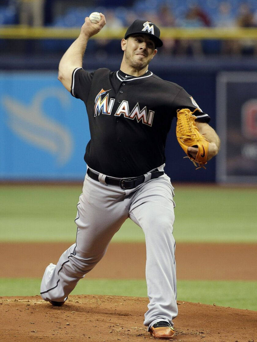 Miami Marlins' Jose Fernandez pitches to the Tampa Bay Rays during the first inning of an interleague baseball game Thursday, May 26, 2016, in St. Petersburg, Fla. (AP Photo/Chris O'Meara)