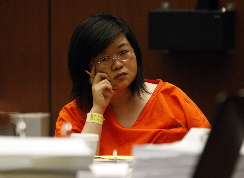 "Hsiu-Ying ""Lisa"" Tseng, a Rowland Heights doctor, is on trial, charged with second-degree murder and other counts in the prescription drug overdose deaths of three male patients. She is pictured here at her 2012 preliminary hearing. (Luis Sinco / Los Angeles Times)"