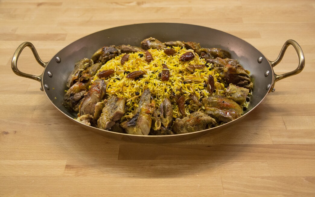 Rice with toasted noodles (reshteh polow) served with lamb