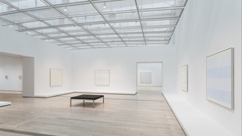 Installation view, Agnes Martin, Los Angeles County Museum of Art.