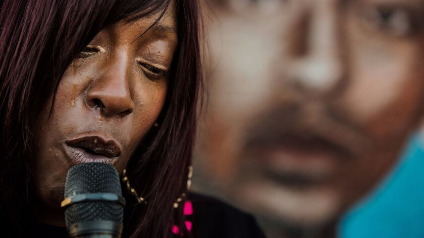 Tritobia Ford speaks on the one-year anniversary of her son Ezell Ford, who was killed in 2014. The L.A. district attorney has yet to announce whether her office will charge two LAPD officers who shot him.
