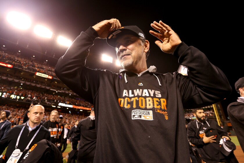 San Francisco Giants Manager Bruce Bochy has three coaches on his staff who were with the team before his 2007 arrival.