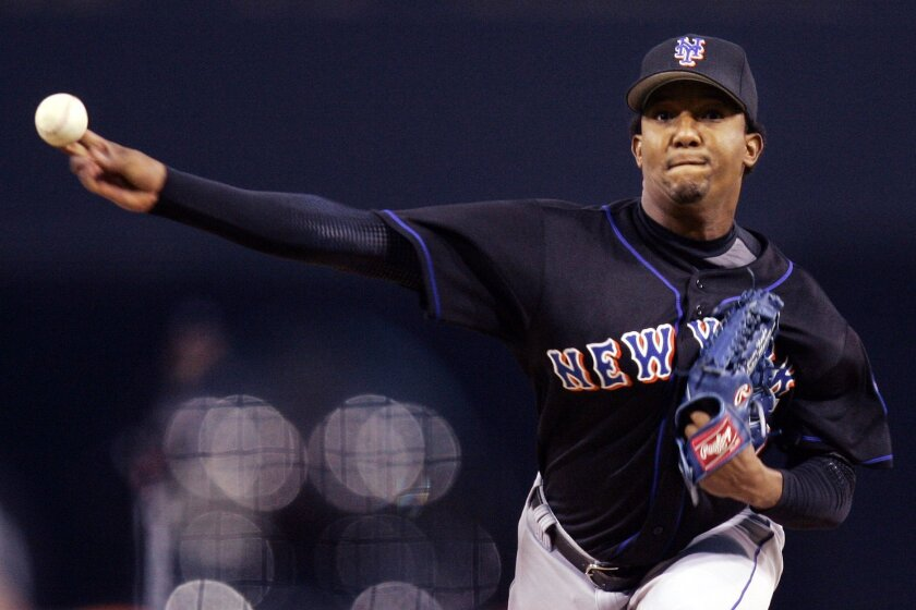 New York Mets Pedro Martinez pitches against the Padres in 2006.