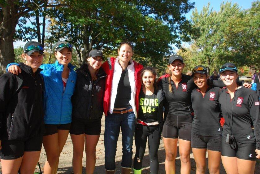 The San Diego Rowing Club Women's Varsity rowers and coach recently participated in the Head of the Charles Regatta in Boston: Jillian Renly (L-R), Mariko Kelly, Rachel Wayne, Coach Susan Francia, Madeline Ottilie, Cassandra Fernandes, Christina Indudhara and Jordan Glenn.