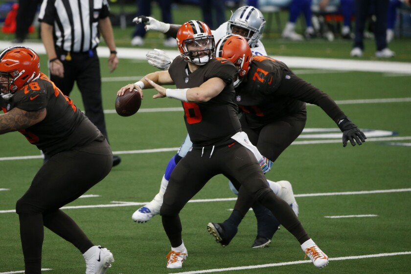 Cleveland Browns quarterback Baker Mayfield passes during Sunday's win over the Dallas Cowboys.