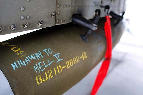 A bomb attached to an A-10 Warthog, a frequent choice for close air support to aid troops in trouble on the ground, bears a message that refers to an old AC/DC song.