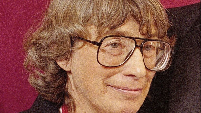 FILE - In this Nov. 18, 1992 file photo, Mary Oliver appears at the National Book Awards in New York