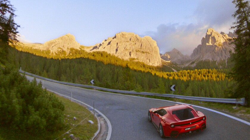 A scene in the Alps from the Flying Dreams flying theater ride at the recently opened Ferrari Land a
