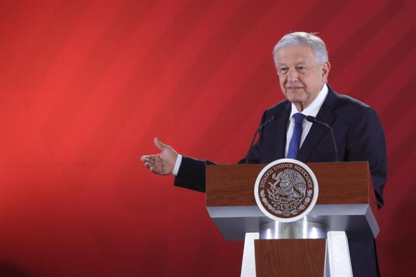 President of Mexico, Andres Manuel Lopez Obrador, speaks during his morning press conference Feb. 22,2019, at the National Palace, in Mexico City, Mexico. EPA-EFE/Sáahenka Gutierrez