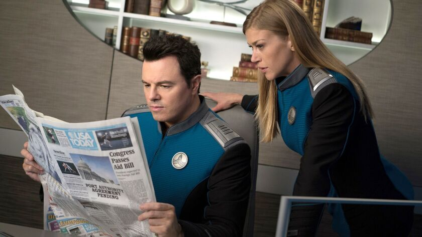 """Seth MacFarlane and Adrianne Palicki in """"The Orville"""" on Fox."""