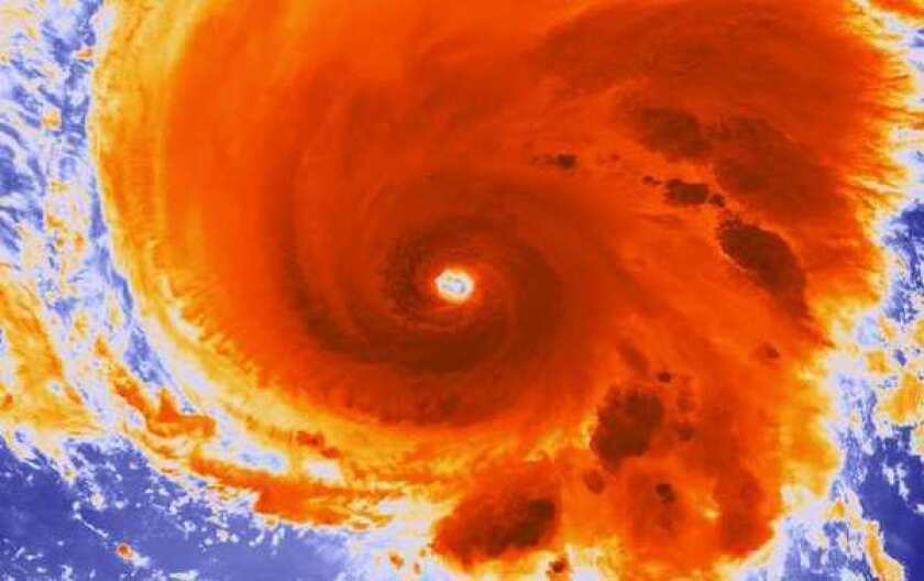 A high-resolution infrared image shows Hurricane Michael churning in the Atlantic on Sept. 6, 2012.