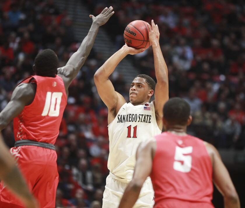 The Aztecs' Matt Mitchell during game against New Mexico at the Viejas Arena.