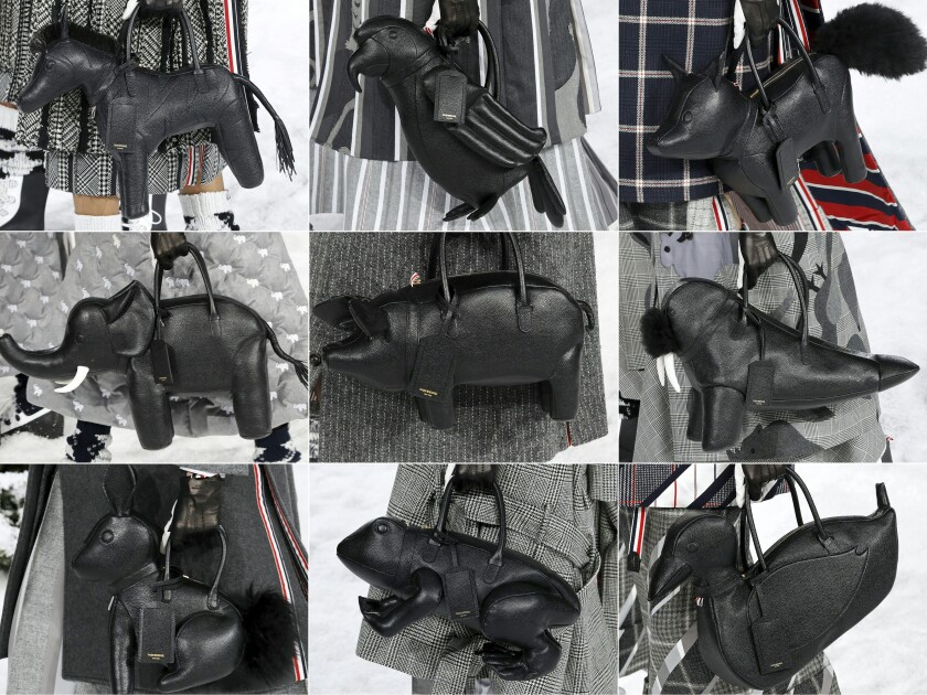 A few of the 33 different animal-shaped handbags that came down the Thom Browne runway during Paris Fashion Week.