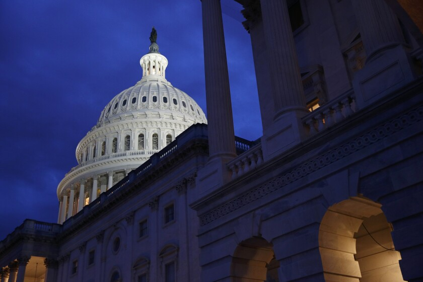 FILE - This June 12, 2019, file photo shows the U.S. Capitol dome in Washington. On Wednesday, Nov. 13, the Treasury Department releases federal budget data for August. (AP Photo/Patrick Semansky, File)
