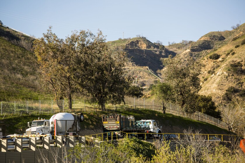 Traffic moves into and out of Southern California Gas Co.'s facility at Aliso Canyon. Because of the four-month leak at the site, L.A. County supervisors voted to set up a strike team to examine oil and gas wells in unincorporated areas.