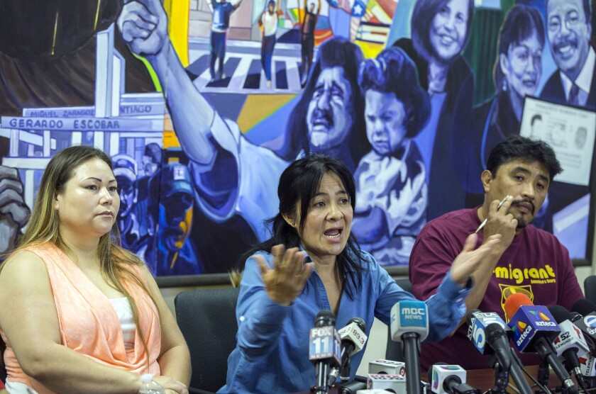 Bertha Diaz, left, and Araceli Sanchez recount their daily struggles of driving without a California license during a news conference at Coalition for Humane Immigrant Rights of Los Angeles, with CHIRLA senior organizer Antonio Bernabe, right, on Friday.