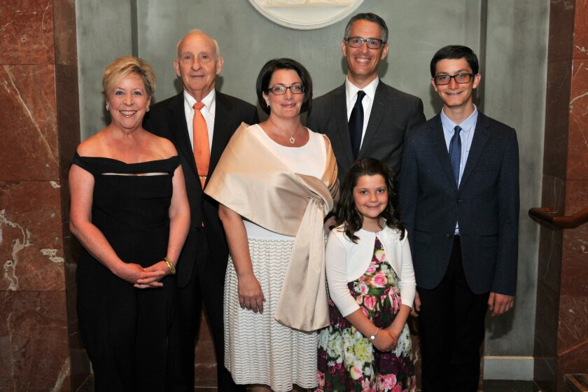 2015 Mitzvah Award recipients are Susan G. Komen San Diego (represented by its executive director Laura Farmer Sherman); Evelyn (not pictured) and Ernest Rady,  and Joellyn and Ron Zollman (with Aliza and Zachary Zollman) at the Jewish Family Services' Heart & Soul gala, March 28, 2015.