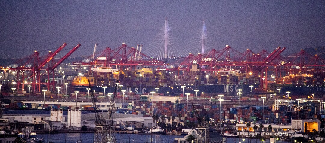 Thousands of containers are unloaded from ships at the Ports of Los Angeles and Long Beach